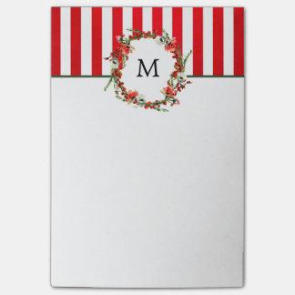 WeihnachtsblumenKranz und rote Streifen Post-it Klebezettel