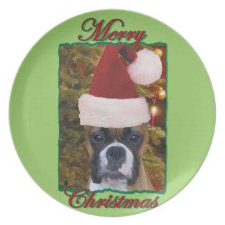 Weihnachtsboxerhund Melaminteller