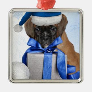 Weihnachtsboxerwelpen-Quadratverzierung Silbernes Ornament