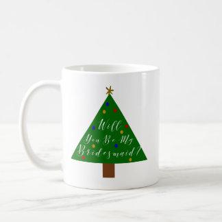 Weihnachtsbrautjungfern-Antrag Kaffeetasse
