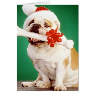 Weihnachtsbulldogge mit Weihnachtshut und -knochen Karte