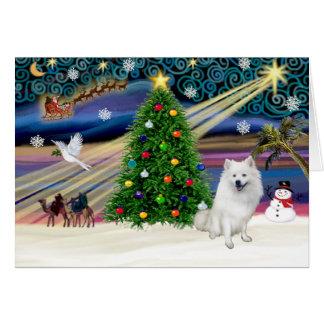 Weihnachtsc$magie-amerikanischer Eskimohund Grußkarte