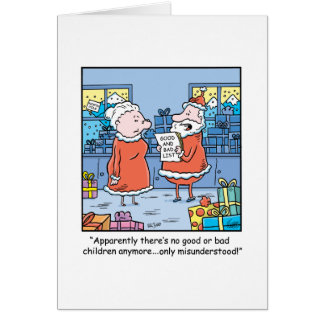 WeihnachtsCartoon Sankt gut und schlechte Liste Karte