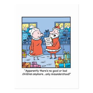 WeihnachtsCartoon Sankt gut und schlechte Liste Postkarte