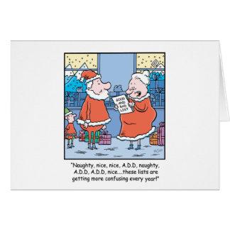 WeihnachtsCartoon Sankt gute und schlechte Liste Karte