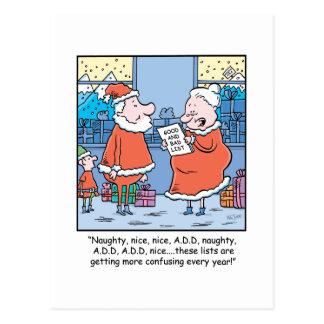 WeihnachtsCartoon Sankt gute und schlechte Liste Postkarte