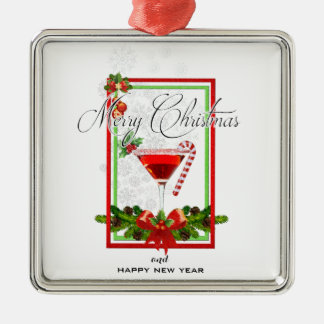 Weihnachtscocktail-Aquarell-Kunst Silbernes Ornament