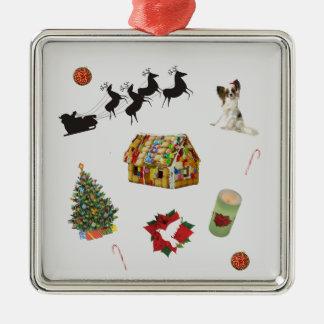 Weihnachtscollage Quadratisches Silberfarbenes Ornament