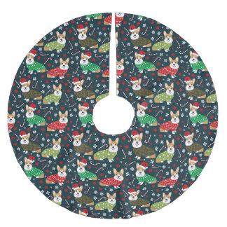 WeihnachtsCorgistrickjacke-Baumrock - niedlicher Polyester Weihnachtsbaumdecke