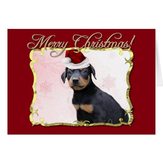 WeihnachtsdobermannPinscherhund Grußkarte