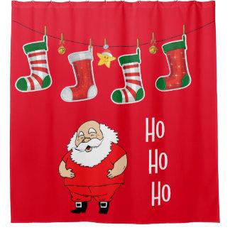 Weihnachtsduschvorhang/Sankt und Strümpfe Duschvorhang