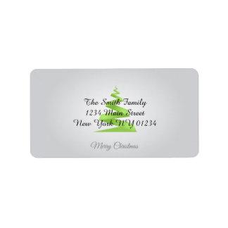 Weihnachtseinfacher Band-Weihnachtsbaum Adressaufkleber