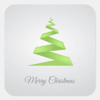 Weihnachtseinfacher Band-Weihnachtsbaum Quadratischer Aufkleber