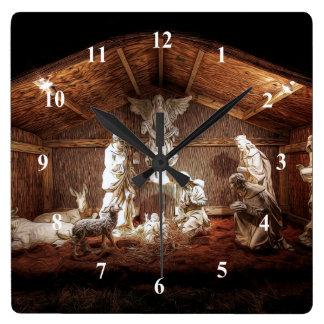 Weihnachtseinführungs-Jesus-Geburt Quadratische Wanduhr