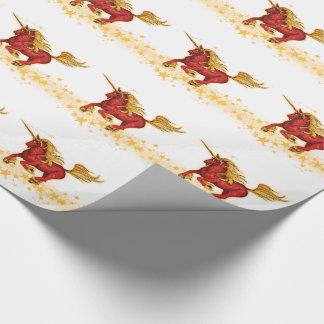 WeihnachtsEinhorn (Gold-rot) Geschenkpapier