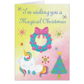 WeihnachtsEinhorn-Schneeflocken und Kranz Karte