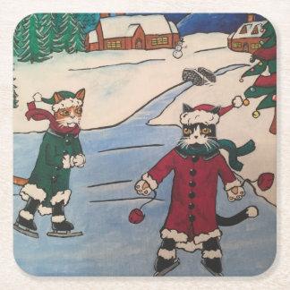 Weihnachtseis-Skaten Kartonuntersetzer Quadrat