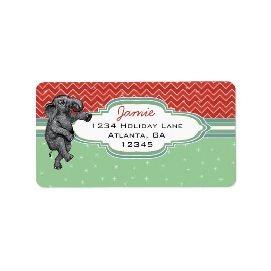 Weihnachtselefant-Zickzack-Muster-Rücksendeadresse Adressaufkleber