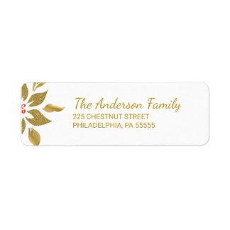 Weihnachtselegante Poinsettia-Rücksendeadresse