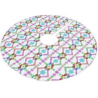 Weihnachtself-und -schneeflocke-Muster Polyester Weihnachtsbaumdecke