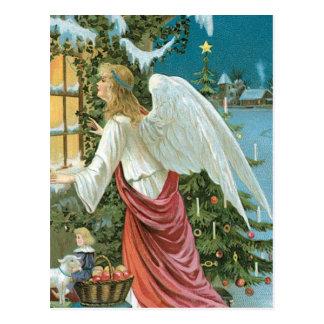 Weihnachtsengel am Fenster Postkarte