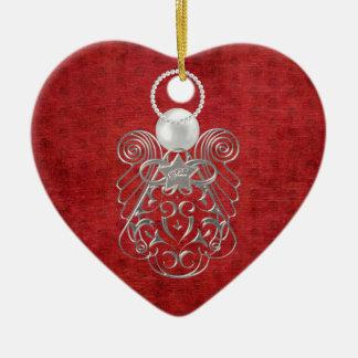 Weihnachtsengel des Friedens auf rotem Keramik Ornament