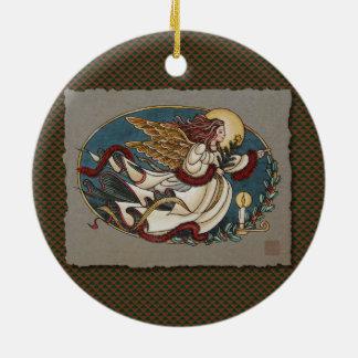 Weihnachtsengel des Lichtes Keramik Ornament
