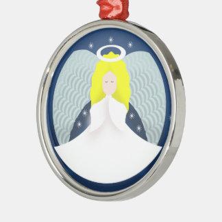 Weihnachtsengel mit Flügeln Silbernes Ornament
