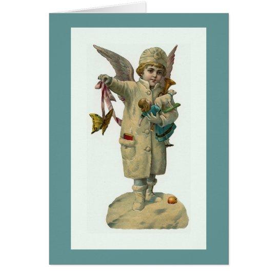"""""""Weihnachtsengel mit Spielwaren-"""" Vintager Karte"""