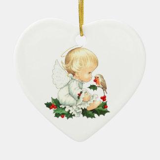 Weihnachtsengel und Robin-Weihnachtswünsche Keramik Herz-Ornament