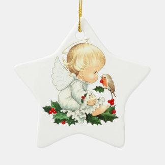 Weihnachtsengel und Robin-Weihnachtswünsche Keramik Stern-Ornament