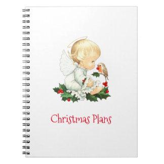 Weihnachtsengel und Robin-Weihnachtswünsche Notizblock