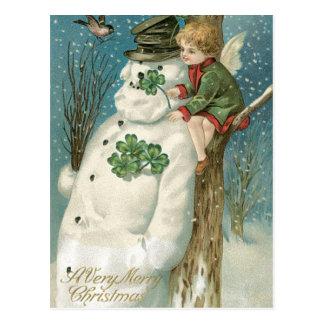 Weihnachtsengel und -Schneemann Postkarte