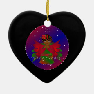 Weihnachtsengels-Baby Nollaig Chridheil III Keramik Herz-Ornament