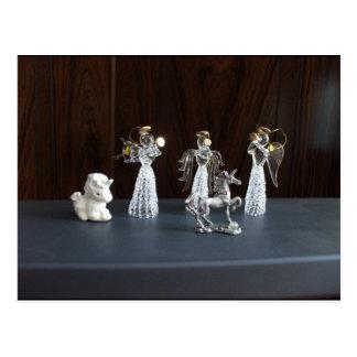 Weihnachtsengels-Einhorn-Figürchen Postkarte
