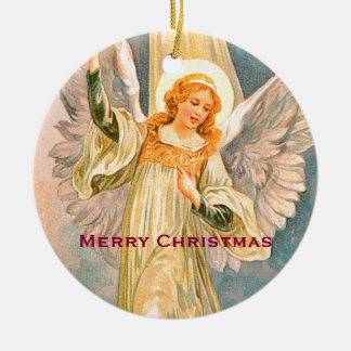 Weihnachtsengels-frohe Weihnachten Rundes Keramik Ornament