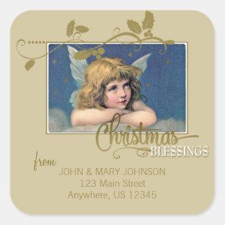 Weihnachtsengels-Segen-Adressen-Etikett Quadratischer Aufkleber