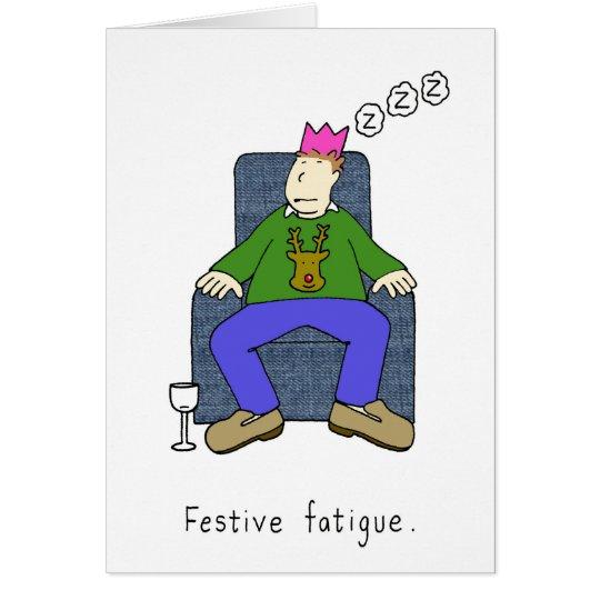Weihnachtsermüdung, bemannen schlafendes in seinem karte