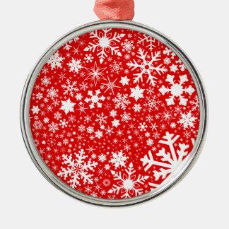 Weihnachtsexplosion Rundes Silberfarbenes Ornament