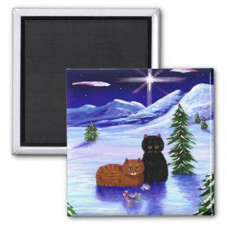 Weihnachtsfeiertags-Katzen-Maus christlich Quadratischer Magnet