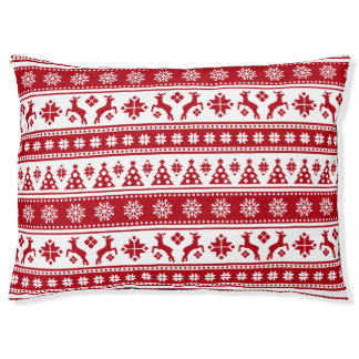 Weihnachtsfeiertags-nordisches Muster gemütlich Haustierbett
