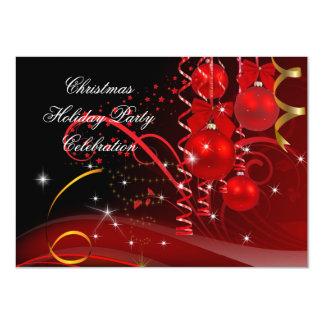 Weihnachtsfeiertags-Party-rote schwarze Goldbälle 11,4 X 15,9 Cm Einladungskarte