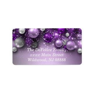 Weihnachtsfeiertags-Verzierungen - Purpur Adressaufkleber