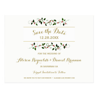 Weihnachtsfeiertags-Winter Save the Date Wedding Postkarte