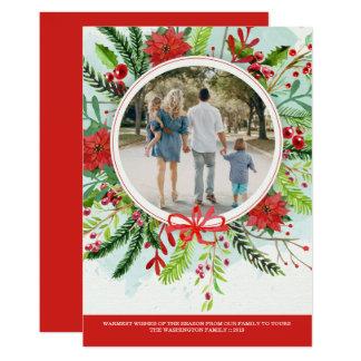 WeihnachtsfeiertagspoinsettiablumenFotokarte 12,7 X 17,8 Cm Einladungskarte