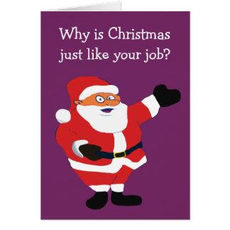 Weihnachtsfetter Mann-Sankt-Büro Humor Karte