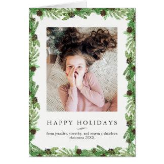 WeihnachtsFoto der Feiertags-Kiefern-  Karte