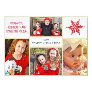 WeihnachtsFoto-Karte - 4 Fotos Front u. Rückseite Karte
