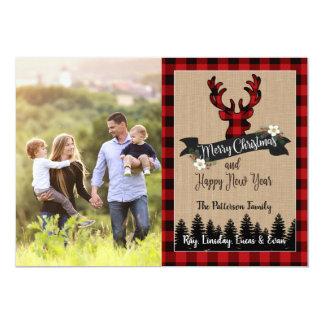 WeihnachtsFoto-Karten-Rotwild und Büffel kariert Karte