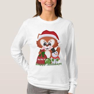 Weihnachtsfox-Feiertags-Cartoon-T - Shirt